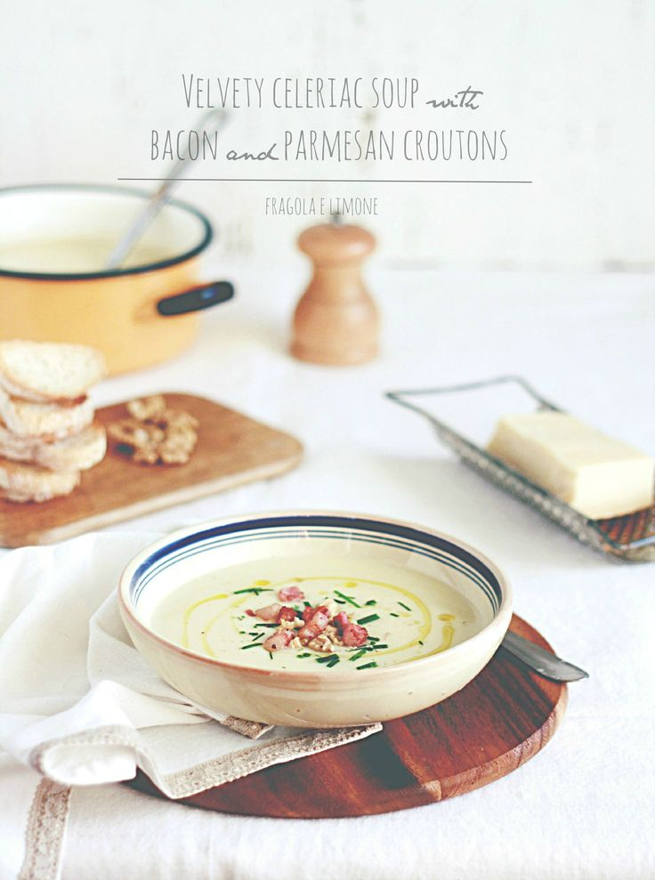 Celeriac soup with bacon, walnuts and croutons