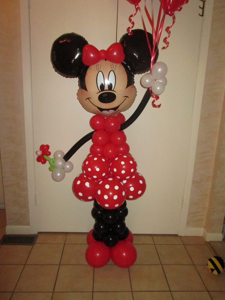 Minnie Mouse in red!  Perfect delivery a special birthday.  This balloon Minnie Mouse can be made in pinks or red with white accents.  We can add the Mickey head balloons too.