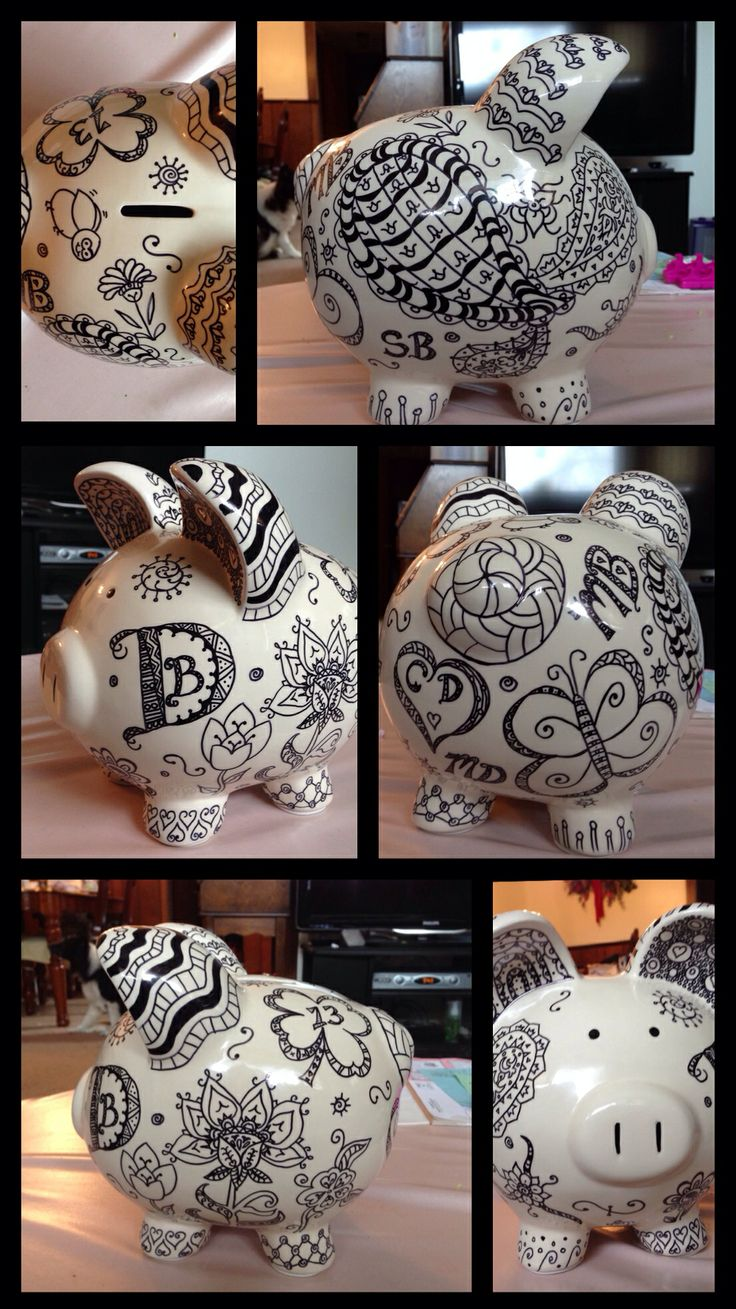 March 7, 2014: Doodle Day - Zentangle Piggy Bank