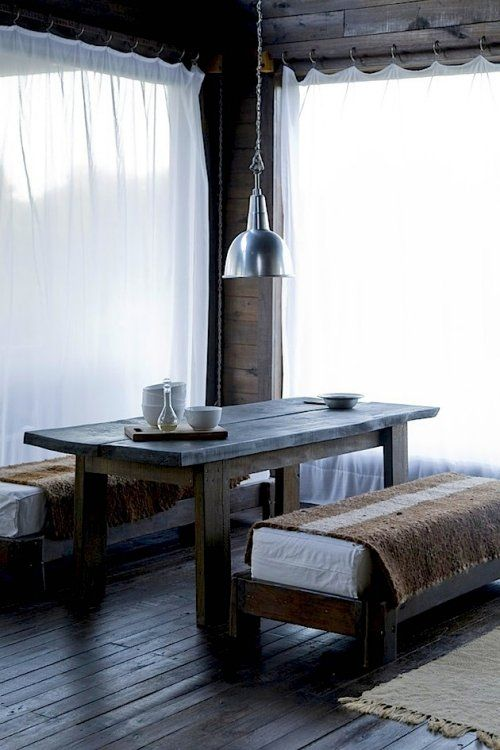 VosgesparisKitchens, Dining Rooms, Simple Living, Benches, Wabi Sabi, Rustic Tables, Wabisabi, Wood Tables, Dining Tables