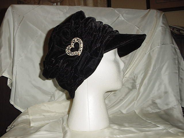 Black+Velvet+Chemo+Alopecia+Hair+Loss+Brimmed+Hat+by+Annag2001,+$15.00