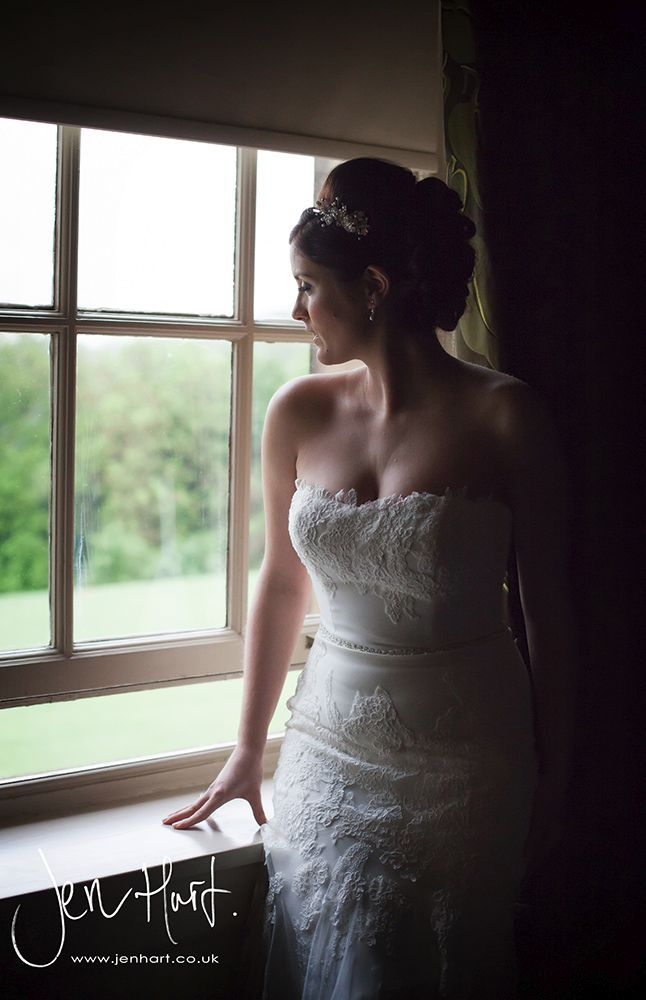 Bride. Bridal portrait. Window light. Fishtail dress. Vintage. Wedding photography.