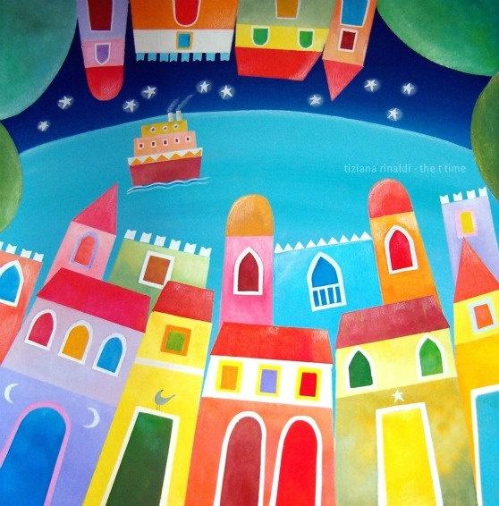 Di là dal mare - Tiziana Rinaldi #upside #down #village #sea #landscape #painting #art