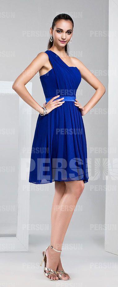 e516bdbd6f852 Simple robe de soirée bleue asymétrique pour mariage plissé   Jolie ...
