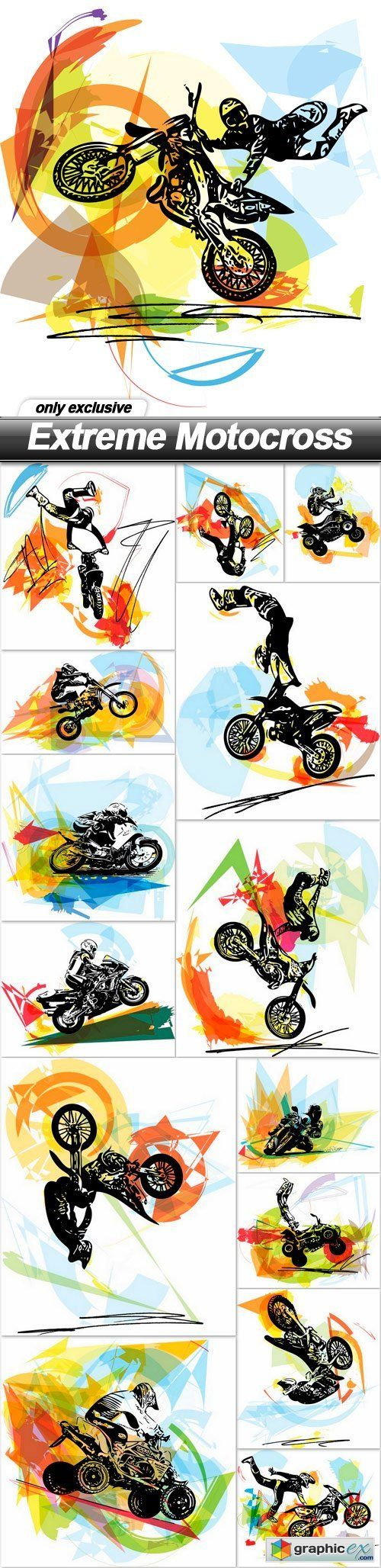 Extreme Motocross  15 EPS  stock images