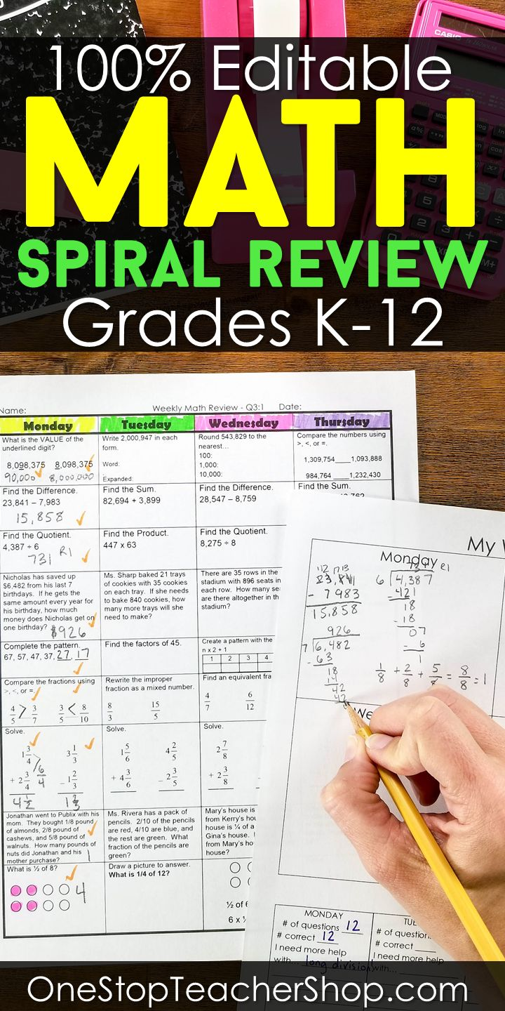 8073 best math images on pinterest teaching ideas learning get an entire year of math spiral review for grades k 12 plus fandeluxe Images