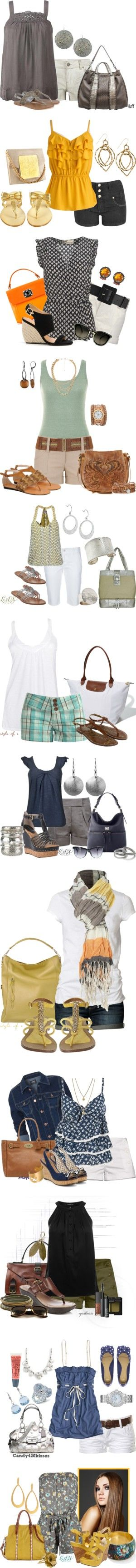 """""""Summer Shorts"""" by esha2001 on Polyvore--every single outfit I love and would buy, just longer shorts or buy the same color pants ."""