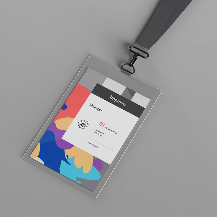 Imperio: Mixing stark grayscale brand elements with more fluid pops of color for conference badges