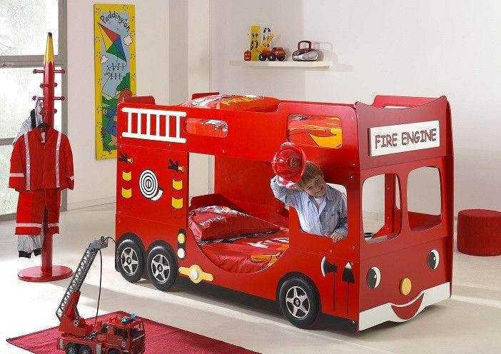 Lit Superposé Pompier Truck 90x200 #LitEnfant #LitPompier #LitSuperposé