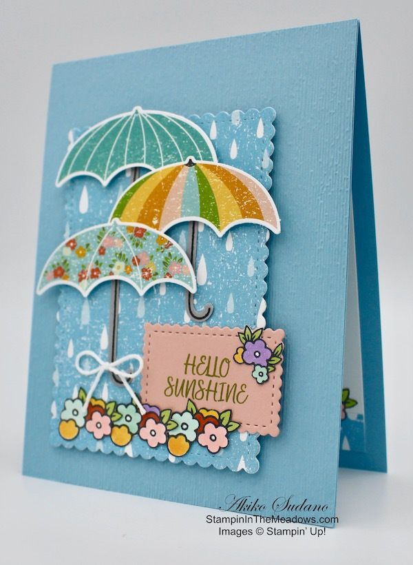 Stampin Up Under My Umbrella Card For The Happy Inkin Thursday Blog Hop Stampin In The Meadows Umbrella Cards Hello Cards Stamping Up Cards