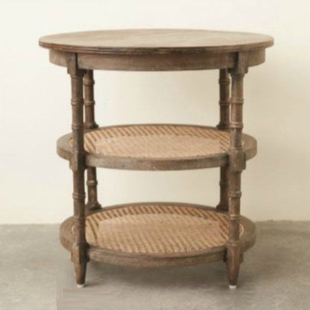 3 Tier Round Side Table With Cane Shelves