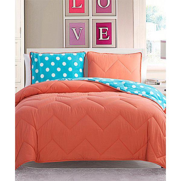 Victoria Classics Coral & Aqua Juniper Comforter Set (49 CAD) ❤ liked on Polyvore featuring home, bed & bath, bedding, comforters, coral shams, aqua pillow shams, reversible comforter, coral comforter and coral pillow shams