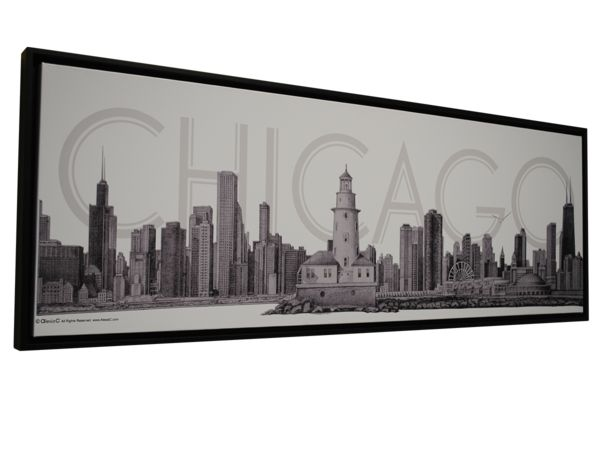 CHICAGO COLLECTION Canvas Fine Art Pencil Illustration With Floating Frame by Alesia C.   CHICAGO Business Gifts   Great CHICAGO Gifts   Great CHICAGO Souvenirs   www.AlesiaC.com   Luxury Gifts for HIM   Chicago Souvenir for Men   Luxury Accessories for Men   Luxury Groomsmen Gifts   Luxury Dad Gifts   High-End Men Gifts   www.AlesiaC.com