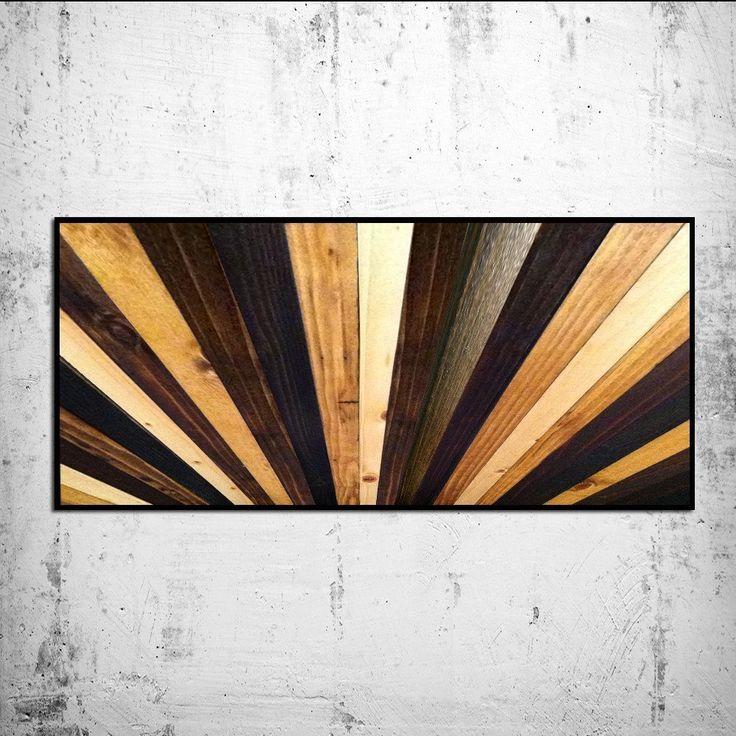 Wood Wall Art - Stained Wood Sunburst Wall Headboard