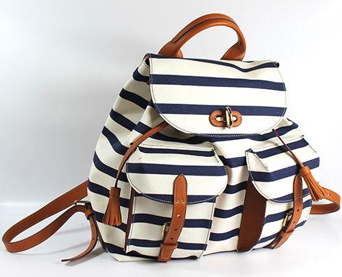 Ralph Lauren Collection sac à dos en toile et cuir marin