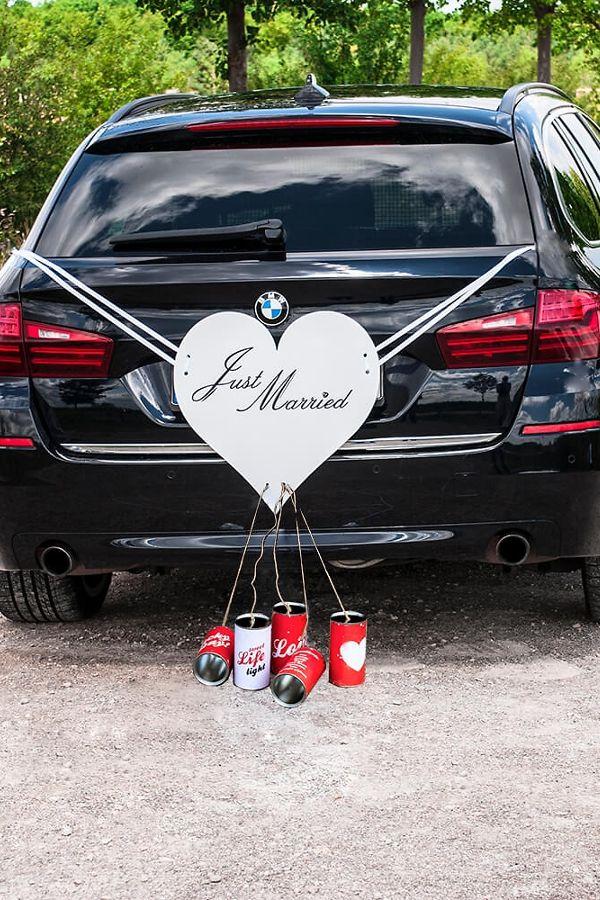 Autoschmuck Herz Mit Blechdosen Retro Autodeko Hochzeit Hochzeitsauto Hochzeit Auto