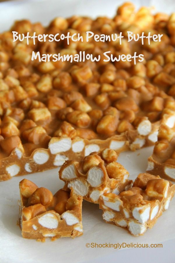 4-Ingredient Butterscotch Peanut Butter Marshmallow Sweets | www.ShockinglyDelicious.com