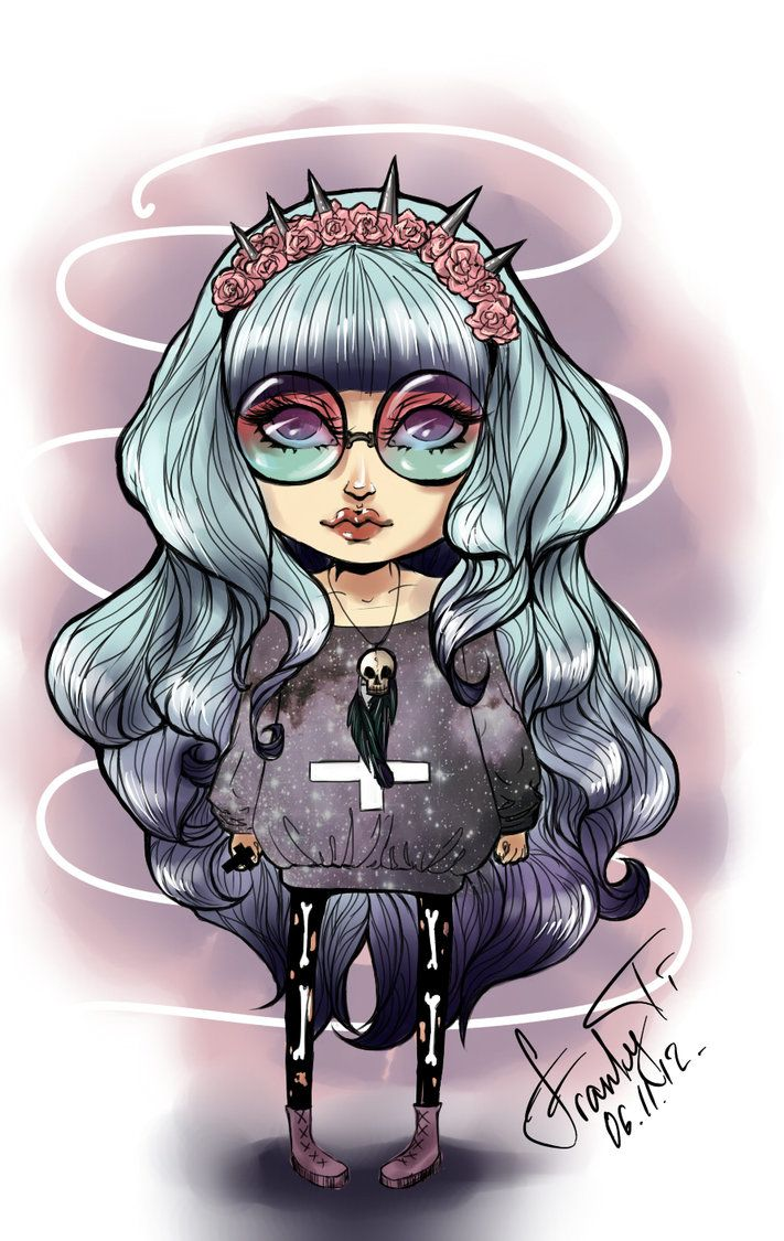 It is a graphic of Impeccable Pastel Goth Girl Drawing