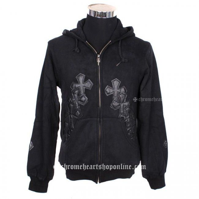 Chrome Hearts Black Leather Cross Patch Hoodie Online Hot Sale Jackets