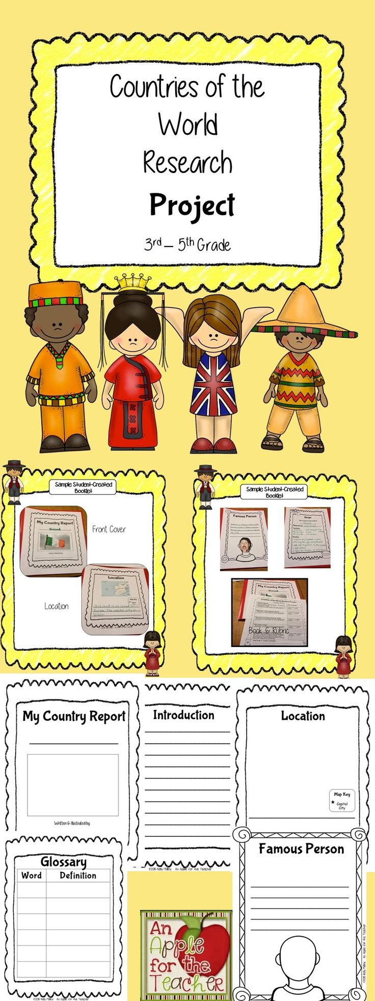 Writing Research Project - Countries of the World  - 47 page unit aligned to Common Core.  Includes editable pages.