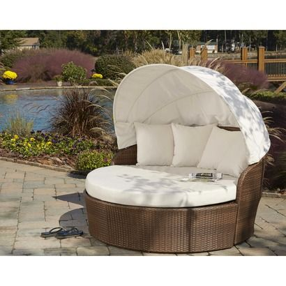 Panama Jack� Key Biscanye Wicker Patio Canopy Daybed