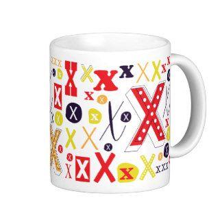 Monogram mug initial letter X