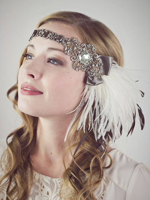 Cocoa and Ivory Ostrich Feather Flapper Headband : Accessories : Deanna DiBene Millinery