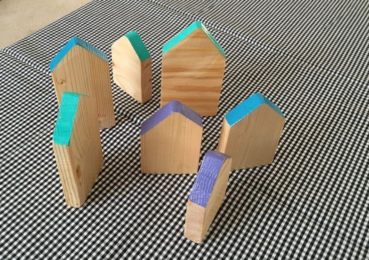 Scrap wood little houses by Woodblends on Etsy