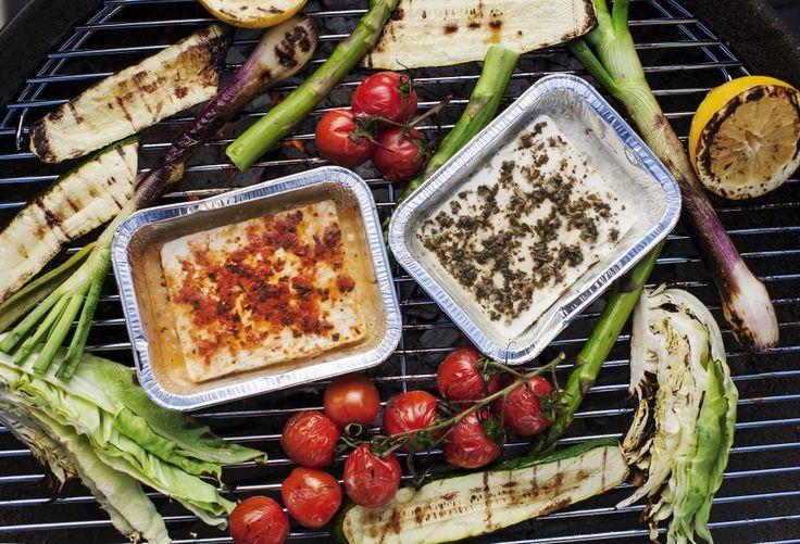 Grillad fetaost och grönsaker