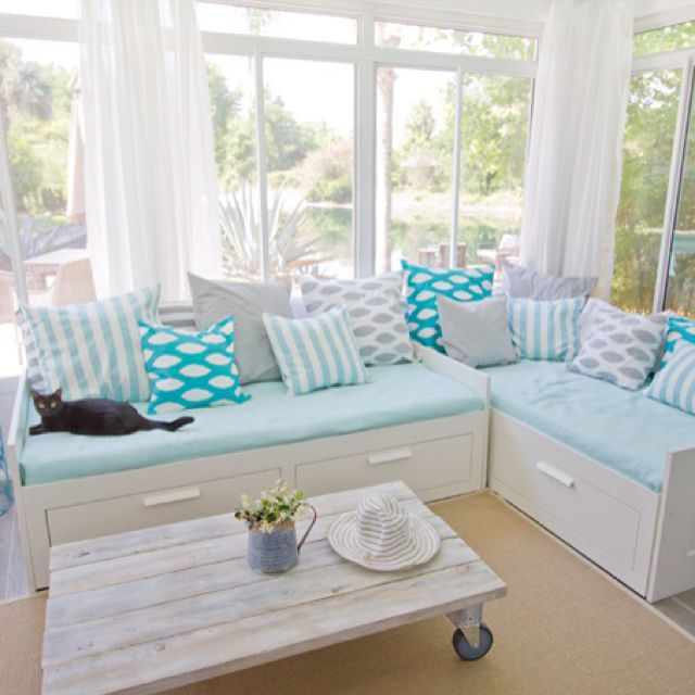 a sunroom gets a beachy blue makeover ikea office bed
