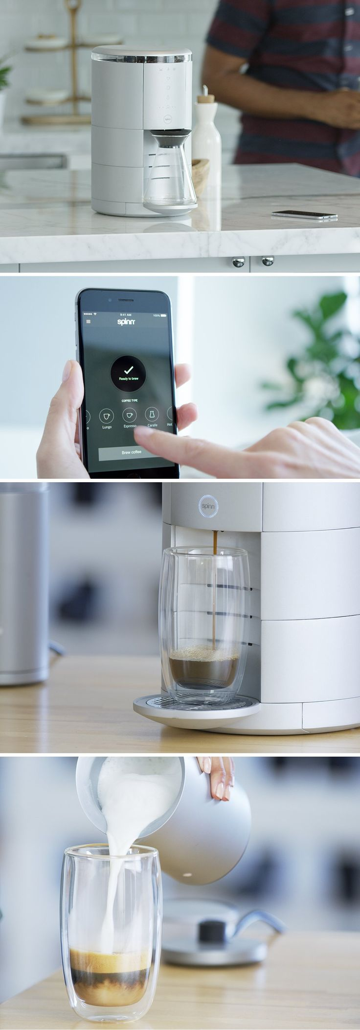 The Spinn coffee machine is designed to bring the entire ceremony of preparing coffee the 'right' way, allowing you to get the best cup of coffee with the simple push of a button right in your home.