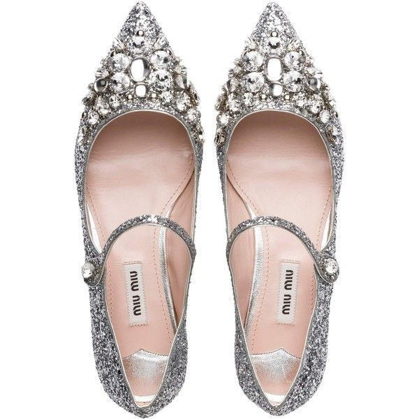 Miu Miu BALLERINAS found on Polyvore featuring shoes, flats, embellished ballet flats, glitter ballet flats, strappy ballet flats, mary jane shoes and t-strap flats