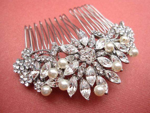 Vintage Inspired  Pearls bridal hair comb, Swarovski pearl hair comb, wedding hair comb, bridal hair accessories, wedding hair accessories via Etsy