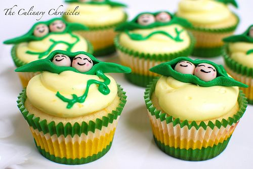 Two Peas in a Pod cupcakes! : Shower Ideas, Birthday, Cupcakes Ideas, Baby Shower Cupcakes, Baby Shower Theme, Having Twins, Pods Cupcakes, Peas, Lemon Cupcakes