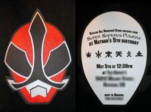 Power Ranger Super Samurai, birthday party invitations, red ranger, power ranger svg, ninja