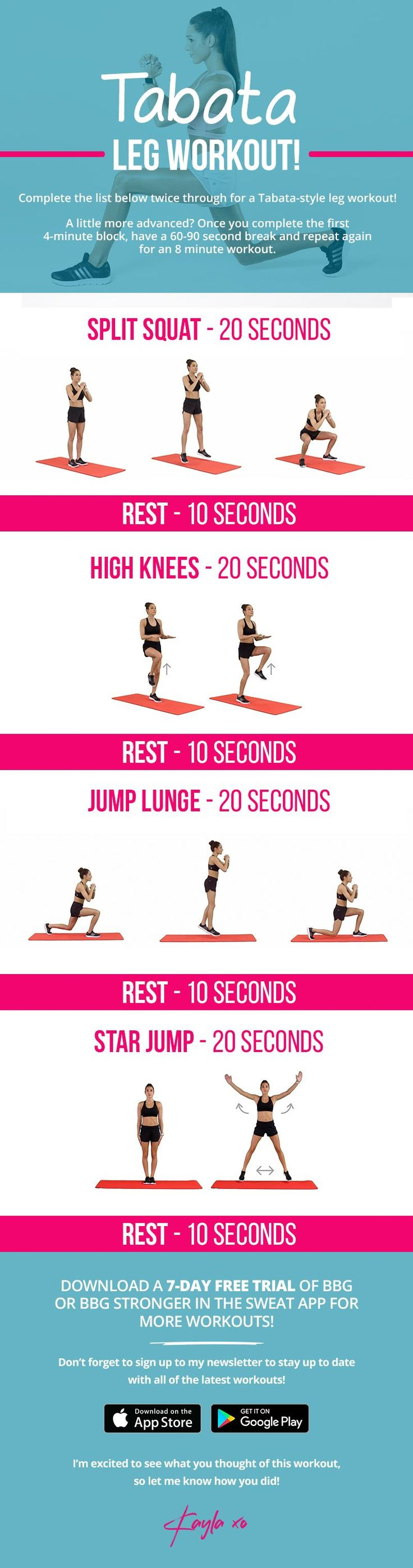 Tabata leg workout by Kayla Itsines