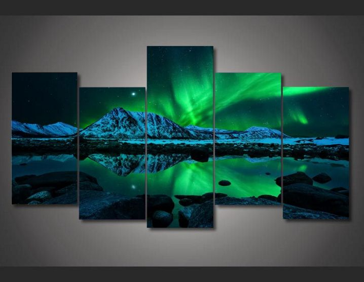 5 Pieces Multi Panel Modern Home Decor Framed Northern Light Aurora Wall Canvas Art