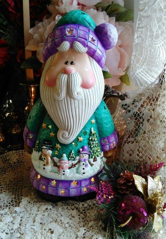 Hand painted ceramic bisque Santa