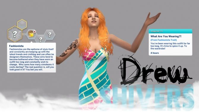 Custom CAS Trait: Fashionista at Drew Shivers via Sims 4 Updates