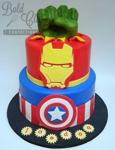 Avengers themed birthday cake with hand modeled chocolate Hulk Fist. Hulk smash!!