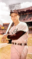 Callison at Yankee Stadium, again for Topps Cards. He was 20 years old in 1959. Started the season in right field, but slumped and returned to minors for McAnany. Should have been on post-season roster as an added left-handed bat off the bench. He was the jewel of the White Sox Farm System.