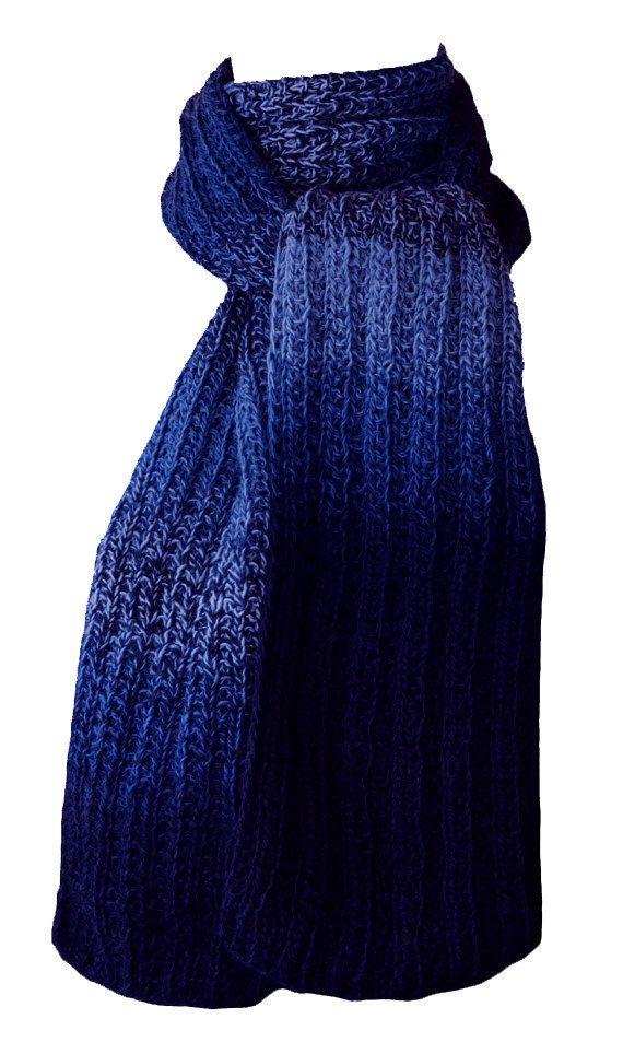 Hand Knit Scarf - Blues Tweed Trail Ridge Rib Wool by StudioatRedTopRanch on Etsy
