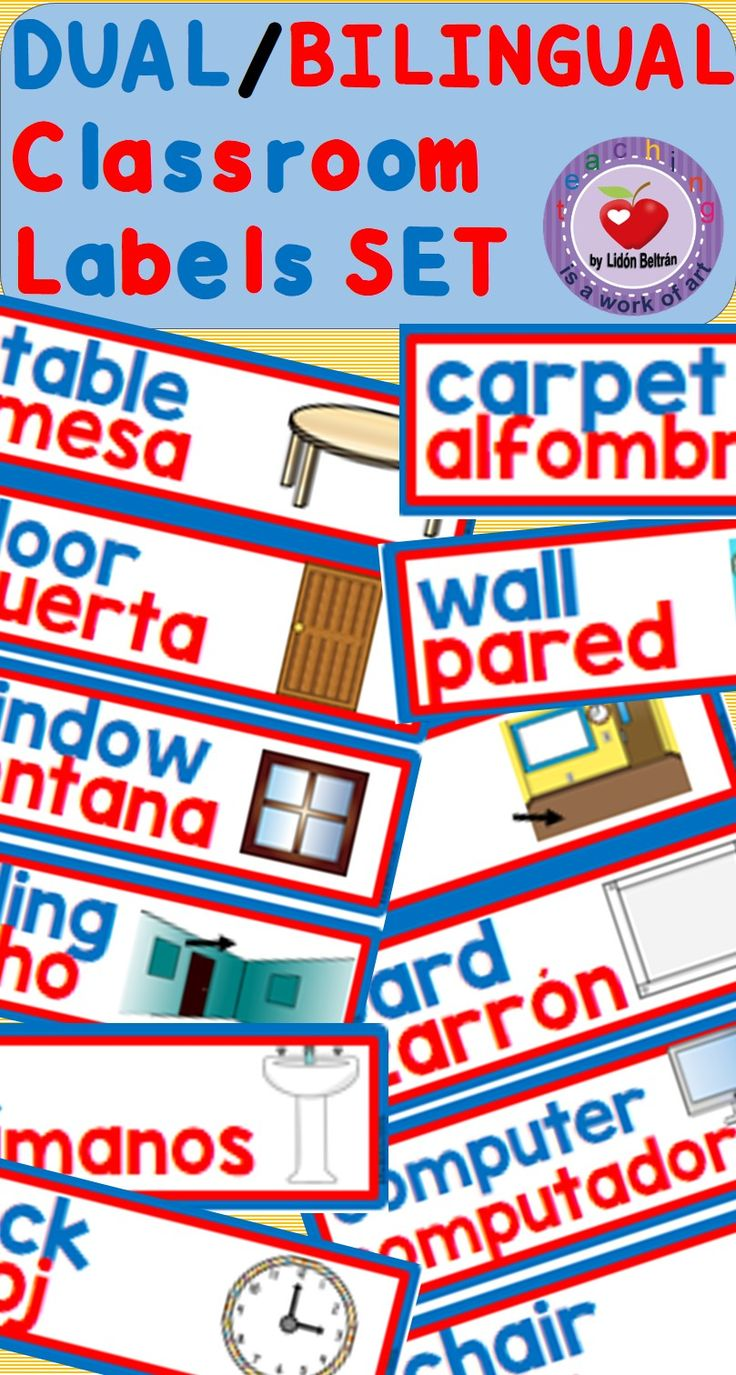Dual/Bilingual Labels. This set includes 112 classroom labels to decorate your room and help bilingual students, newcomers and ELL students. The labels use Gómez&Gómez color codes (blue for English, red for Spanish).