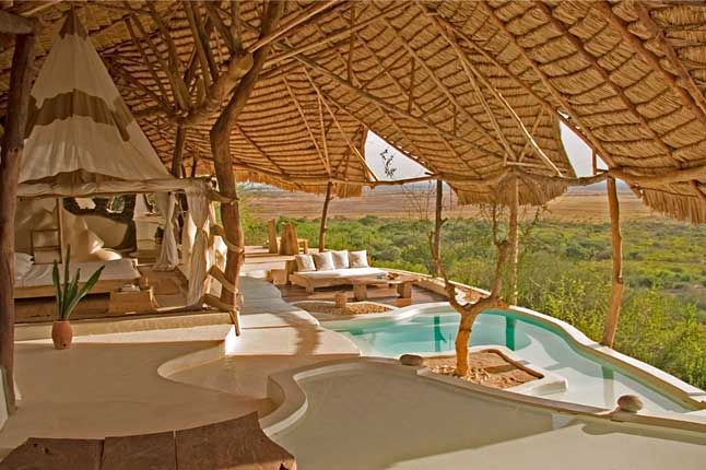 Shompole, Kenya. Heartbreakingly romantic and incredibly chic, the Shompole eco safari lodge comprises just eight thatched open air rooms perched on the edge of the Great Rift Valley on the site of the Nguruman escarpment. Masai Mara, Kenya (00 254 20 884135; www.wilderness-ventures.com).