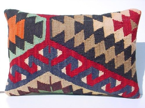 "Turkish Kilim Kelim Lumbar Pillow Cover 20"" x 14"" 