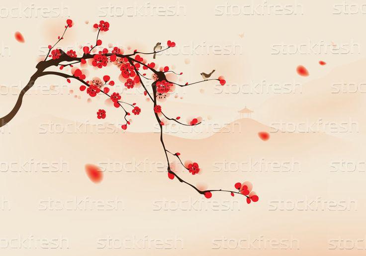 Stijl · schilderij · bloesem · voorjaar · vogels · boom - vector illustratie © su fen low (ori-artiste) (#258610) | Stockfresh