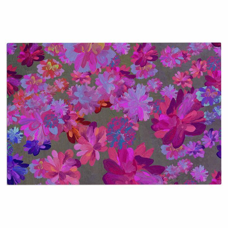 "Marianna Tankelevich ""Purple Flowers"" Pink Blue Decorative Door Mat"