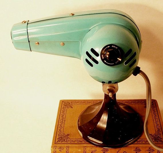 Vintage Turquoise Hairdryer on a black weighted stand...guest bath décor, or vintage Hair salon!