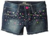 Almost Famous Girls 7-16 Denim Shorts with Neon Studs
