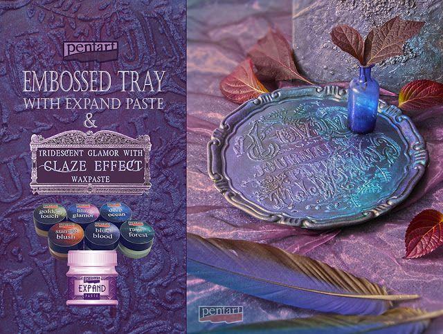 #diy #tray #iridescent #embossed #glazeeffect #stencil #pentart